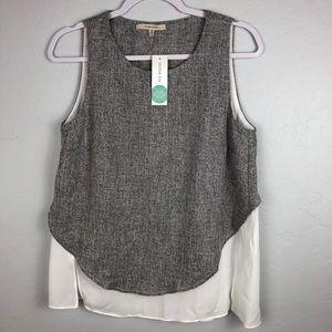 41 Hawthorn Grey Tweed Layered Sheer Tank Top